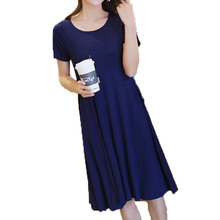 summer fashion Modal dress Women loose short sleeved dress Round neck large size Solid color dress   2017 New product LU81