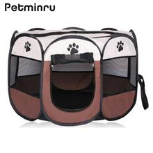 Petminru Portable Folding Dog House Pet tent Cage Dog Cat Tent Puppy Kennel Octagonal Fence outdoor Pet supplies(China)