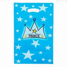 10pcs Blue Stars Prince Crown Baby Birthday Party For kids carnival Favors Candy Sweety Dessert Loot gift bag wedding Decoration