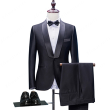 HB058 Tailored One Button Black Groom Tuxedos Slim Fit Tailored Suit Shawl Lace Lapel Wedding Suits For Men (Jacket+Pants+Bow)(China)