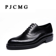 PJCMG New Breathable Black Carved Loafers Thick Soles Dress Genuine Leather Lace-Up Pointed Toe Wedding Casual Business Shoes(China)