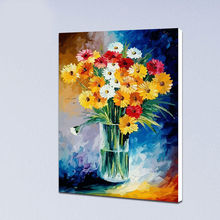 coloring by numbers Impressionist vase  flowers digital paint by numbers drawing practice diy oil painting home decor