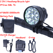 9T6 Led Headlamp Bike Light 9 *  XM-L T6 3 Modes 14000LM Front Bicycle Light Super Power with 6*18650 Battery Pack & Charger
