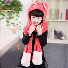 New Kids Cat Ear Cute Hats Sets With Scarf Glove Warm Cotton Winter Caps Kawaii Lovely Style Headwear Boys Girls Gift Wholesale(China)