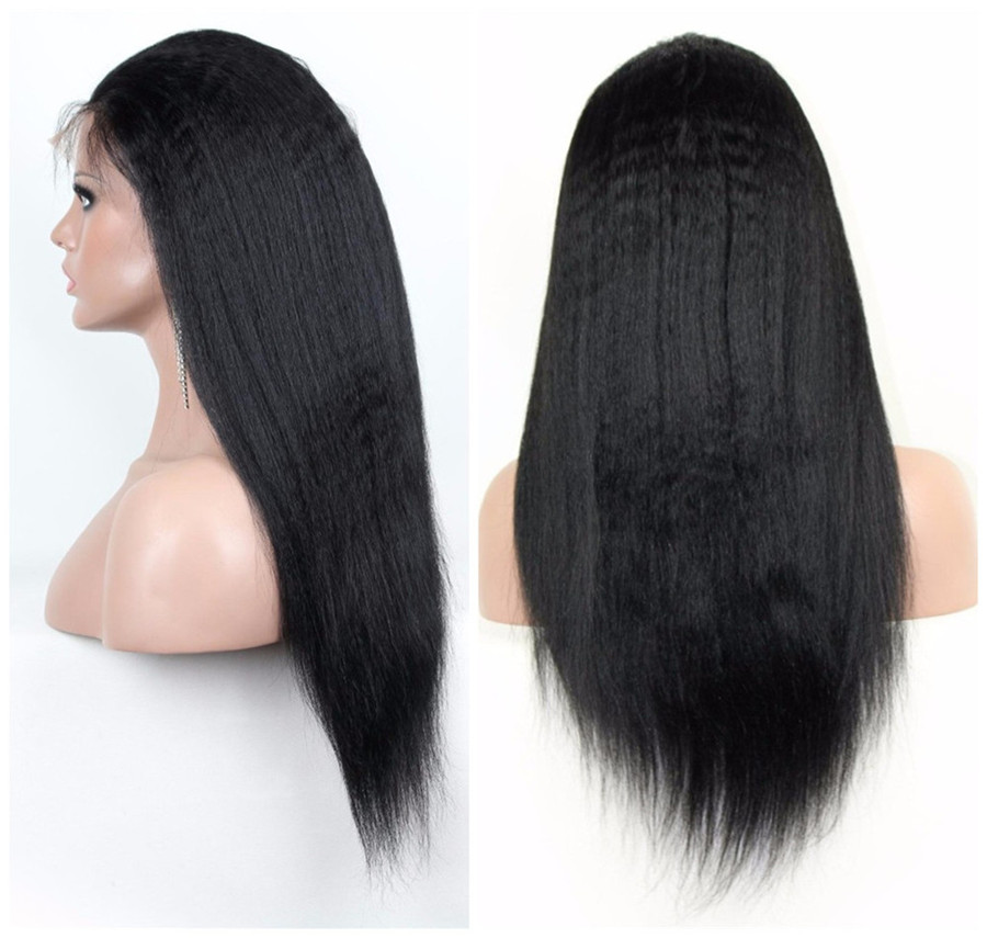 Glueless Full lace lace front human hair wigs Brazilian hair Italian Yak straight  lace wigs with baby hair for black women<br><br>Aliexpress