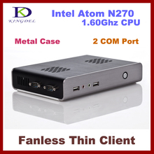 Free shipping Dual COM port  Intel Atom N270 1.60Ghz Thin Client Computer, Mini PC with 1GB RAM, , 32 Bit, 720P Video supported