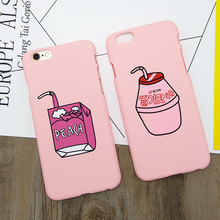 Korea Fresh Pink Peach Milk Drink Phone Case for Iphone 6 6s Cartoon Hard PC Frosted Matte Back Cover Case