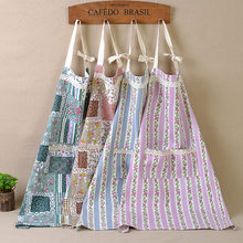 fashion print lace aprons for women work helper apron kitchen clean apron quality line cotton cooking aprons two pockets sale