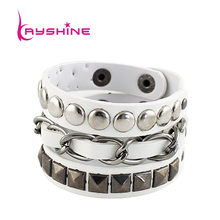 Kayshine Men Jewelry Punk Bracelet Spike Chain PU Braceletes Pulseiras Bangles &Bracelets for Women Wrap Bracelet(China)