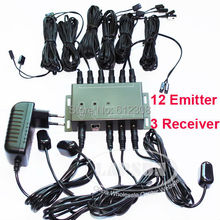 BD1203 12 Emitter 3 Receiver 1 adapter IR Infrared Remote TV AV Video Home Application Extender Hidden IR Repeater System Kit(China)
