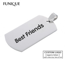 FUNIQUE 10PCs Stainless Steel Stamping Blank Pendant Dog Tags Pendants Silver Tone For Necklaces Bracelets Jewelry Making DIY