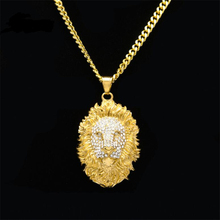 Mens Hip Hop Jewelry Iced Out Gold Color Fashion Bling Bling Lion Head Pendant Necklace Men Gold Filled For Man Gift/Present(China)