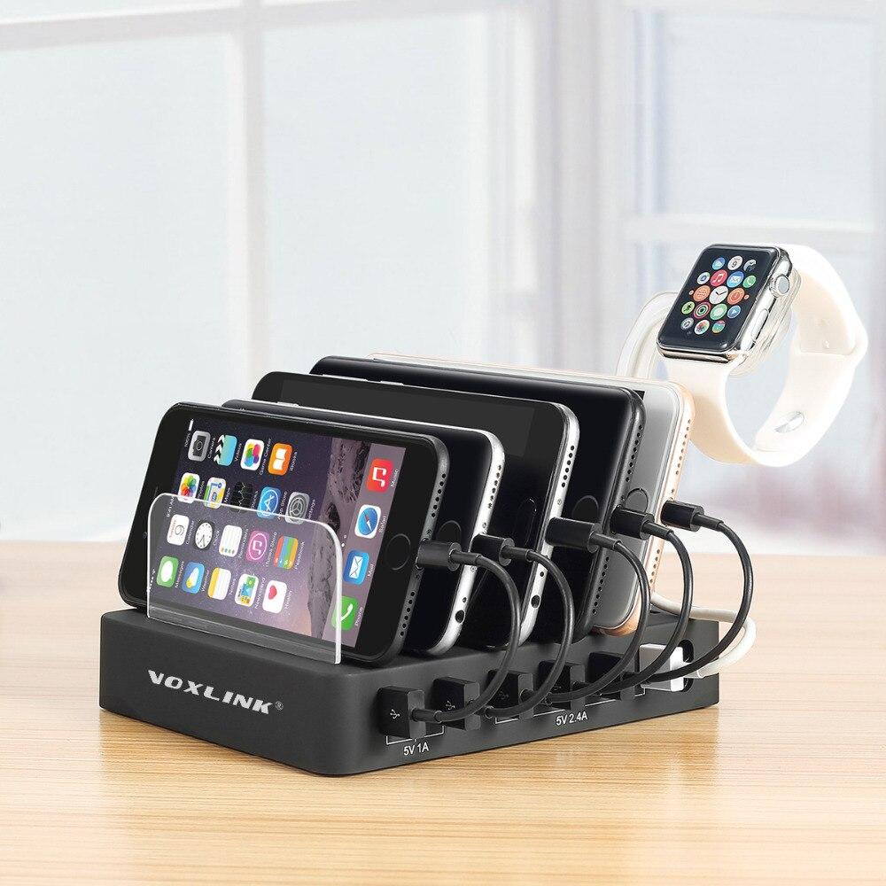 VOXLINK 6-Port USB Charging Station Dock 60W 12A Multiple Desktop USB Charger Hub Fast USB Charging Dock For Smartphone Tablet