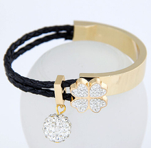 Sweet Clover Simple Bead Bracelet Crystal Joker Bangle For Woman Fashion Jewelry Wholesale