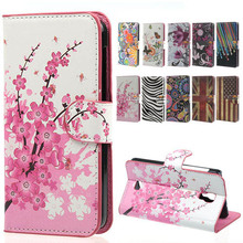 New Stylish Pink Plum Blossom PU Leather Wallet Handbag Book Cover Case For Flip france wiko bloom freeshipping phone bags shell