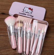Pink / Black Cute Hello kitty mini brush 7pcs/set Professional makeup brushes beauty make up tool with box
