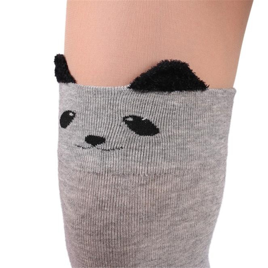 High Quality Women Stocking Catoon Cat Pattern Socks Long Socks Over Knee High Sock 2017 Hot Sale medias ligueros drop shipping(China (Mainland))