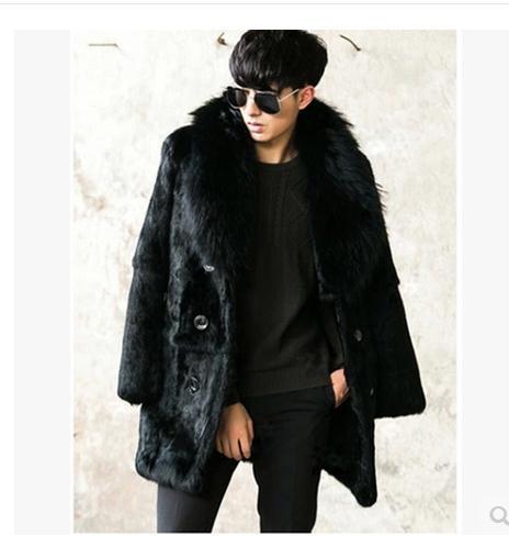 Black Men Faux Fur Overoats Black Casual Long Section Male Nagymaros Collar Double Breasted Fur Jackets Outwear Fur Coat J1648-4