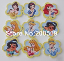 WBNSLO 100pcs Dream Princess Doll Printed 28mm Florer Wood Buttons 28MM Botoes for Children clothes scrapbooking(China)