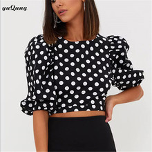 yuqung Women Blouse 2017 New Sweet Girl puff sleeve Blouse cropped shirt Women polka dot Blouse Autumn Ladies Fashion Tops L23(China)
