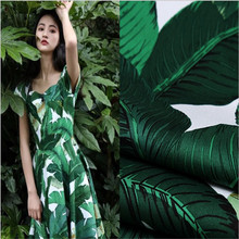 3Meters Green Banana Leaf Printed Stretch Satin Cotton Fabric For Sewing Dress  Clothes Material Cushion 58 619a88a7e8a1