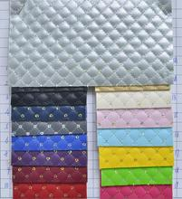 LEO Leather  PU Leather Fabric, Faux Leather Fabric, Synthetic Quilted Plaids with Sequines P476