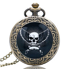 Skull And Crossbones Angel Wings Pocket Watch Antique Fashion Bronze Alloy Pocket Watch Men Boys Child Gift(China)