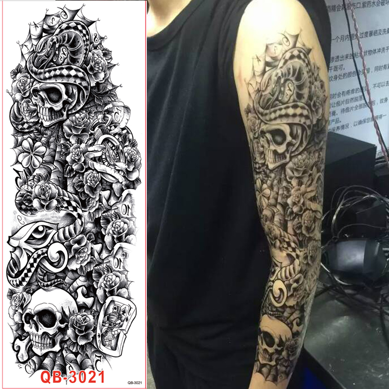 1pc Full Arm Tattoo Stickers Large Flower Shoulder Fake Tattoos Sleeve For Man Body Paint Skull Rose Black Fire 48cm In Temporary From