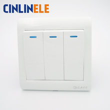 1Pcs Luxury Wall Switch, 3 Gang 2 Way, Ivory White, Brief Art Weave, Light Switch, AC 110~250V  10A 86mm*86mm