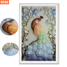 UzeQu 90x50cm 3D Special Shaped DIY Diamond Painting Cross Stitch Full Diamond Embroidery Peacock Mosaic Painting Rhinestones