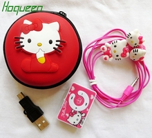 Hoqueen 1set cute Hello Kitty clip MP3 Music Player Support TF Card +Hello Kitty Earphone+Mini USB+kitty zipper bag(China)