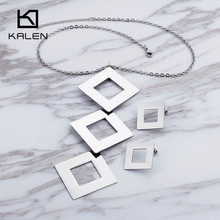 Kalen Women Stainless Steel Jewelry Set Three Prisms Shaped Long Pendant Necklace & Earrings Set 2017 China Market Jewelry(China)