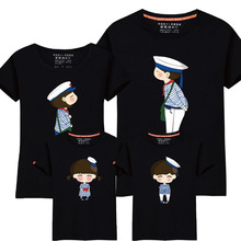 95% Cotton&5% Silk Navy Design Family Matching Outfits Mother Father Son Daughter Print Women Men Children Boy Girl T shirt Top(China)