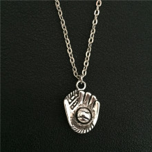 New Fashion Rock Sports Equipment Tibetan Silver Pendant 3D Baseball Glove Necklace Choker Charm Pendant Metal Handmade Jewlery(China)