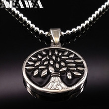 2017 Black Enamel Tree Of Life Stainless Steel Necklace For Women Silver Color Chain Necklace Jewelry Gift gargantilla N72228