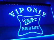 LA435- VIP Only Miller Hight Life Beer   LED Neon Light Sign     home decor  crafts