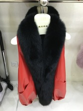 2017 style women's long genuine sheepskin leather vest with big black fox fur collar
