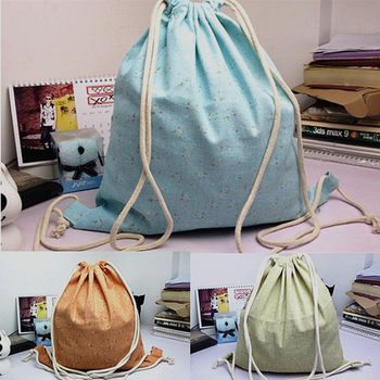 YILE Cotton Linen Drawstring Travel Backpack Student Book Bag Rural MINI Flower 824-8