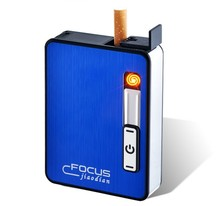 Metal Cigarette Case Box with Lighter Electronic Windproof Flameless Rechargeable USB Lighter for Gifts(China)