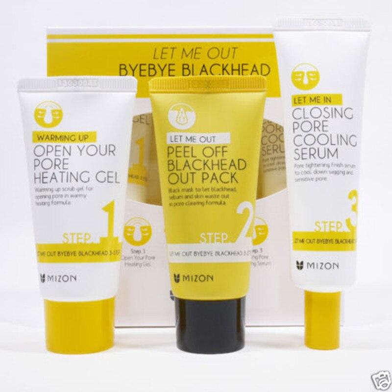 MIZON Let Me Out Byebye Blackhead 3 STEP KIT Skin Care Peeling Treatment Mask Pore Cleanser Shrinking Pores black head Remover<br>
