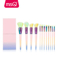 MSQ 12pcs Makeup Brushes Set Rainbow Gradient Color Brush Powder Blusher Eyeshadow Lip Make Up cosmetic Brush Set Copper Ferrule(China)