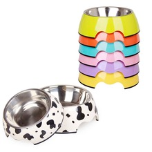 Pet Products High Quality Melamine Dog Bowls Stainless Steel Cat Food Bowl Small Medium Pets Feeding Feeder S/M/L for Choice