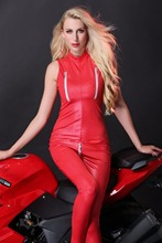 Buy Black Red Latex Catsuit Women Zipper Crotch Lingerie PU Leather Bodysuit Erotic Clubwear Bandage Jumpsuit Plus Size Rompers