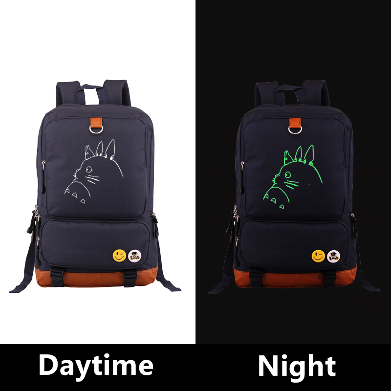 High Quality Anime Totoro Kawaii Emoji Luminous Printing Canvas Backpacks For Teenage Girls School Bags mochila feminina <br>