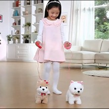 2017 NEW HOT 1pc Choo Yong Electric pet plush toy puppy simulated walking dancing music pull rope Teddy dog electronic pet hl189