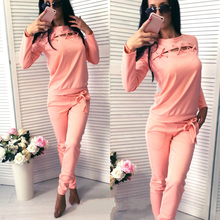 2017 Autumn Fashion Women Long Sleeve Tracksuit Top Long Pants Two Piece Set Ladies Outfit Femme Sporting Suits Sportwear