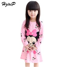 2017 New Spring Autumn Leisure Children Nightgown Cute Cartoon Long Sleeve Pajamas Kids Girls Cotton Nightgown Free Shipping(China)