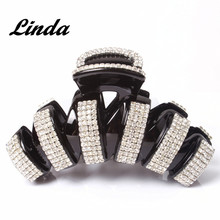 Hot Sale Bling Hair Accessories Ab White Austrian Rhinestone Arched Strip Hair Claw Clip Black Hair Claw AB15(China)