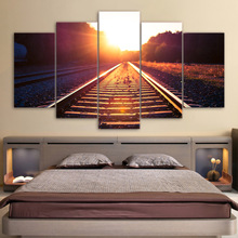 HD Printed 5 Piece Canvas Art Track Train Morning Dawn Painting Wall Pictures for Living Room Wall Poster Free Shipping NY-6926B(China)