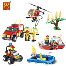 Buy WANGE Fire Brigade Blocks Fire Rescue Toy Building Blocks Compatible Bricks Helicopter Model Boat Kid Assembly Toys Children for $4.85 in AliExpress store